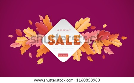 Autumn Sale Background Template with beautiful leaves Illustration for shopping sale, coupon, promotion poster and web banner in Vector