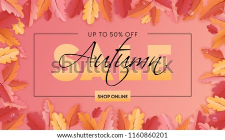 Autumn Sale Background Template with beautiful leaves Illustration for shopping sale, coupon, promotion poster and web banner in Vector #1160860201