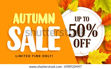 autumn sale banner design with
