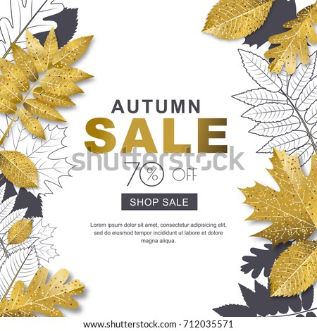 Autumn sale banner with 3d style gold and outline autumn leaves. Vector fall poster golden background. Layout for discount labels, flyers and shopping.