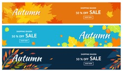 Autumn sale. Banners for 50% Promotion Autumn Discount. Vector falling leaves. For store booklet or web banner.