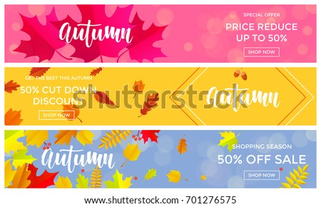 Autumn sale banners for September 50% shopping promo autumnal discount. Vector maple and oak acorn leaf foliage and discount text design for shop leaflet or web banner.