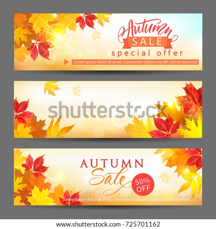 Autumn sale banners with colored leaves and lettering. Vector set.