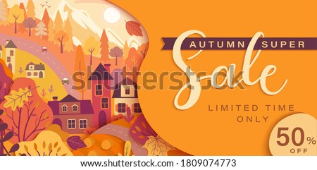 Autumn sale card with fall countryside landscape: trees, houses, mountain.Big discounts in new season with panoramic of countryside. Banner, poster, card with clearance.Vector illustration.