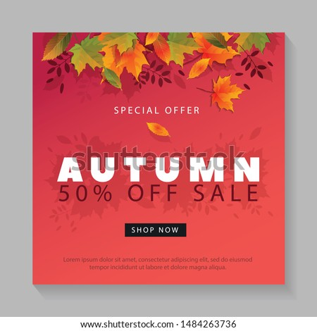 Autumn Sale Design with Falling Leaves and Lettering on Light Background. Autumnal Vector Illustration with Special Offer Typography Elements for Coupon, Voucher, Banner, Flyer