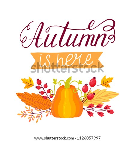 Autumn sale flyer template with lettering #1126057997
