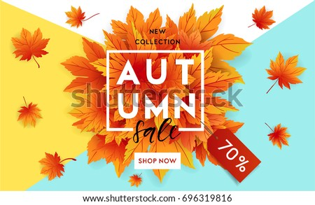 autumn sale flyer template with