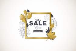 Autumn sale horizontal banner with isolated golden square frame and 3d style gold and outline autumn leaves. Vector fall poster background. Layout for discount labels, flyers and shopping.