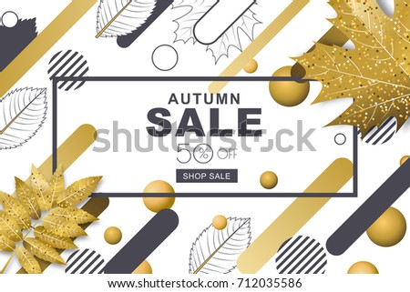 Autumn sale horizontal banners with 3d style gold and outline fall leaves and motion geometric shapes. Vector poster background. Layout for discount labels, flyers and shopping.