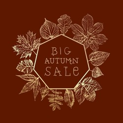 Autumn Sale Inverted Heptagonal Logo with Maple Hazel Oak Sycamore and Other Fall Leaves Retro Advertisment Print Style Composition Template - Gold on Brown Background - Vector Hand Drawn Design