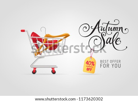 Autumn sale lettering with hanger and shoe in shopping cart. Autumn offer or sale advertising design. Handwritten and typed text, calligraphy. For leaflets, brochures, invitations, posters or banners.