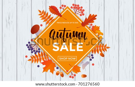 Autumn sale poster of discount promo web banner for autumnal seasonal shopping of maple leaf, rowan berry or oak acorn and mushroom. Vector design template 50 percent shop offer template advertising.