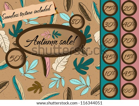 Autumn sale poster with seamless texture. Vector illustration EPS10