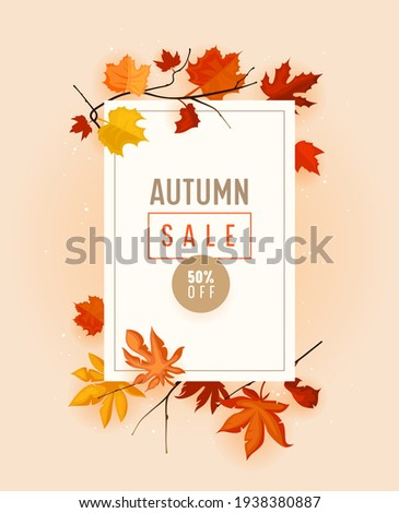 Autumn Sale Promo Banner with Fall Foliage on Pink Background. Seasonal Shop Discount Offer with Red and Orange Leaves of Maple, Sale, Price Off Poster or Voucher Design. Cartoon Vector Illustration