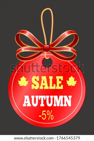 autumn sale tag in round shape