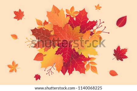 Autumn sale template with fall leaves. Background for shopping sale web banner, label, promo Poster template. Vector illustration style