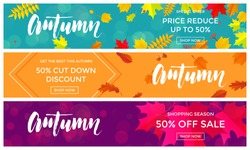 Autumn sale text banners for September shopping promo or 50% autumnal shop discount. Vector maple and oak acorn leaf foliage, mushroom and berry for discount design of leaflet or web banner.