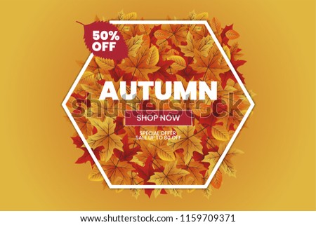 Autumn sale text typography poster for shopping banner vector illustration Photo stock ©