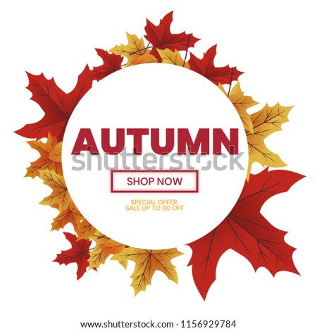 Autumn sale text typography poster for shopping promo vector illustration Photo stock ©