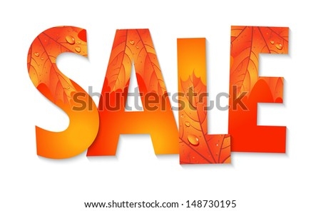 Autumn Sale. The inscription with maple leaves - stock vector