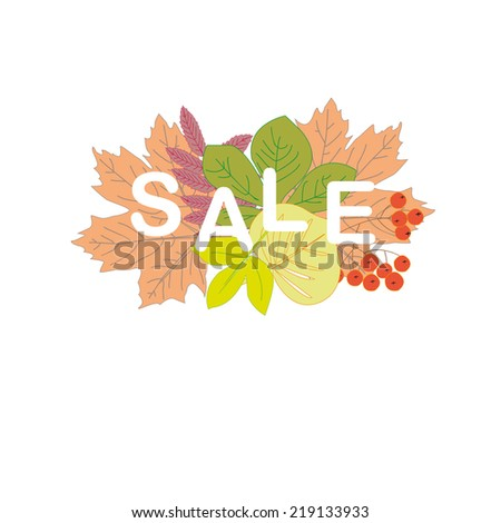Autumn sale vector abstract background and leafs