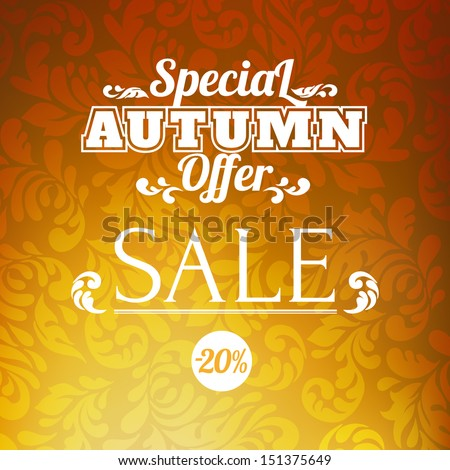Autumn sale vector retro poster with barouque scroll