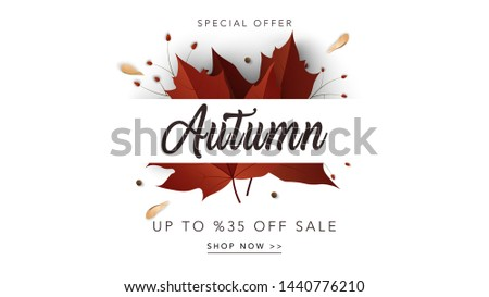 Autumn sale web banner template. Fall sale background with maple leaves. Calligraphic lettering on white background. Vector illustration for card, posters, banners, leaflets, promotions.