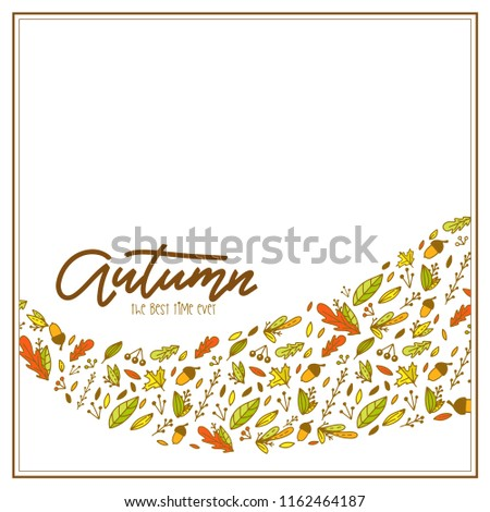 Autumn sale with doodle leaves. Background