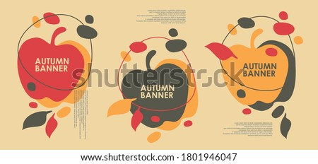 Autumn sales banner design with apple shape and falling leaves. Abstract vector background pattern.