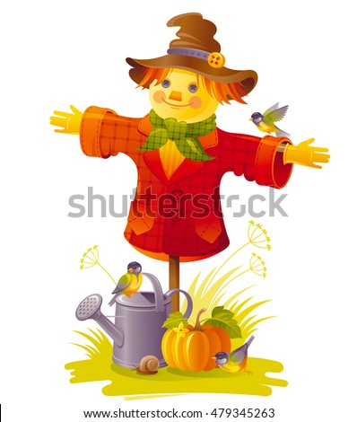 autumn scarecrow vector...