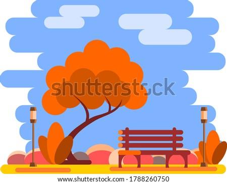 autumn scene of bench in park