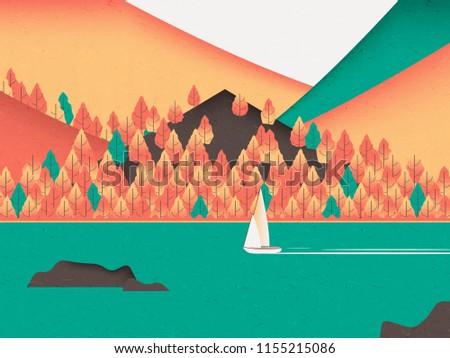 autumn scenery landscape  sail
