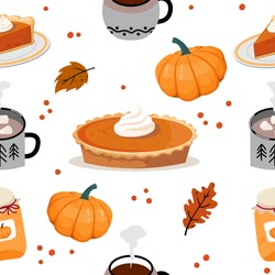 Autumn seamless pattern: pumpkin, pumpkin pie, autumn leaves and berries, cups of cocoa and coffee. Vector, white background.