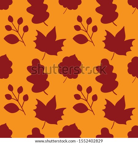 Autumn seamless pattern. Vector seamless pattern. Seamless background with variation fall leaves.