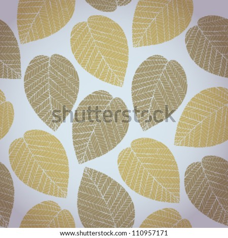 Autumn seamless pattern with colorful delicate stylized leaves. Abstract delicate light leaves texture on grey neutral background