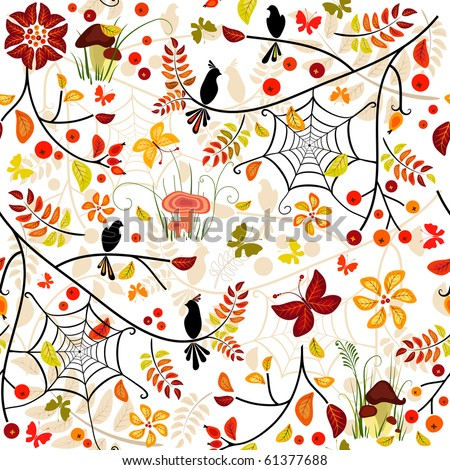 Autumn seamless pattern with colorful leaves, bird and butterflies (vector)