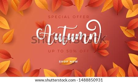 Autumn Season Background for Sale Promotion Banner. Leaf border