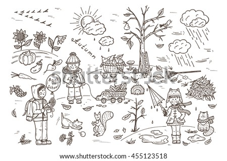 autumn season children walk