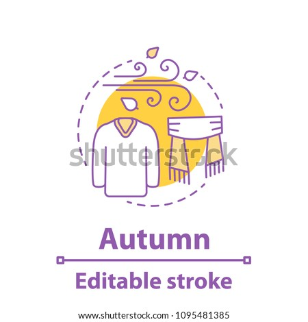 Autumn season concept icon. Cold windy weather idea thin line illustration. Warm sweater and scarf. Vector isolated outline drawing. Editable stroke