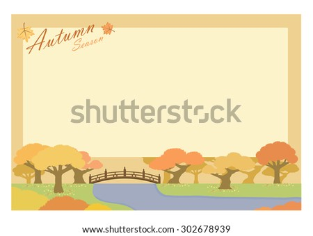 autumn season greeting card with red leaves trees and bridge landscape. vector illustration