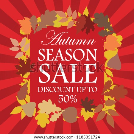 Autumn Season Sale Advertising Banner Red. Vector.