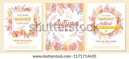 Autumn seasonals postes with autumn leaves and floral elements in fall colors.Autumn greetings cards perfect for prints,flyers,banners,invitations,promotions and more.Vector autumn illustration.  - Shutterstock ID 1171714630