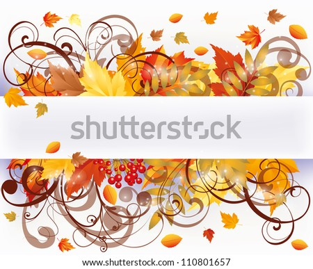 Autumn seasons card, vector illustration