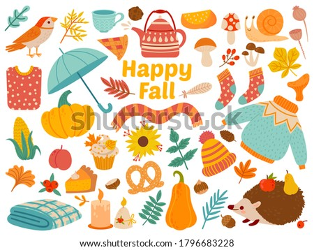 autumn set cartoon yellow