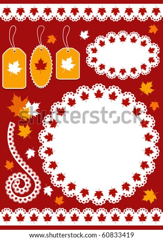 Autumn set for scrapbook with doily. Vector illustration.