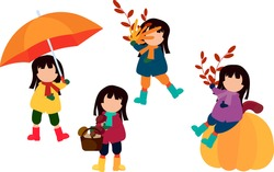 Autumn set. Girl in different poses. Yellow leaves. Mushrooms in the basket. Pumpkin. Vector illustration .
