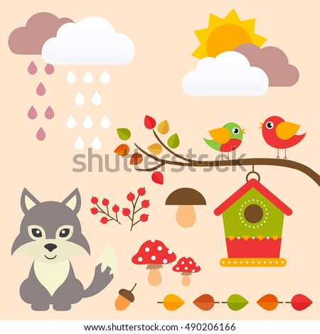 autumn set with wolf and birds