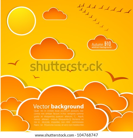 Autumn sky with clouds and sun. Illustration