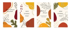 Autumn Social media stories and post template vector set. Cover background with Abstract shape and floral.  Autumn sale banner Vector illustration.