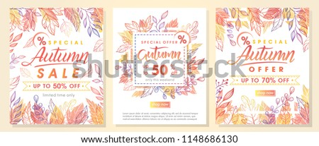 Autumn special offer banners with autumn leaves and floral elements in fall colors.Sale season card perfect for prints, flyers,banners, promotion,special offer and more. Vector autumn promotion. - Shutterstock ID 1148686130